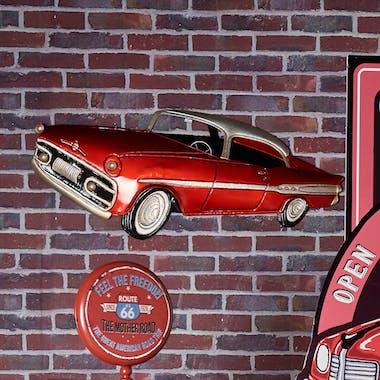Décoration murale en métal voiture américaine rouge
