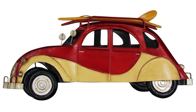 Décoration murale en métal voiture vintage et surf