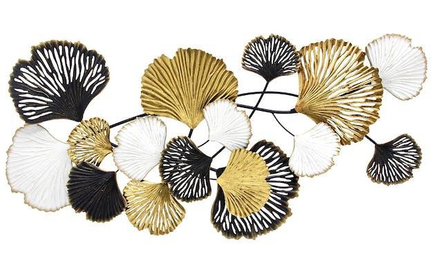Déco murale ginkgo or, blanc, chocolat
