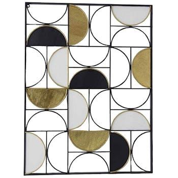 Tableau en métal demi-cercles or, noir, blanc