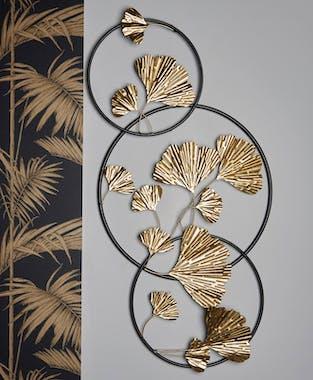 Décoration murale en métal feuilles ginkgo or cerclage noir