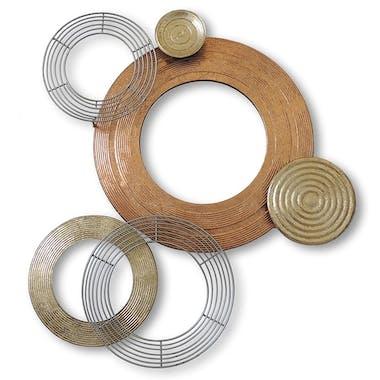 Décoration murale en métal disques or, ocre, gris