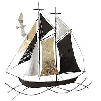 Décoration murale en métal voilier noir, argent, or