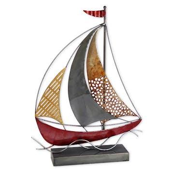 Objet déco à poser bateau rouge et or
