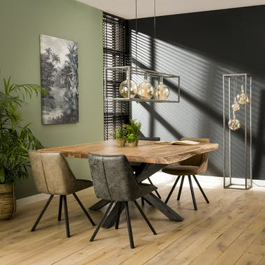 Table carrée bois massif pied mikado 150 cm MELBOURNE