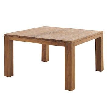Table à manger carrée teck massif brossé 140 cm RIO