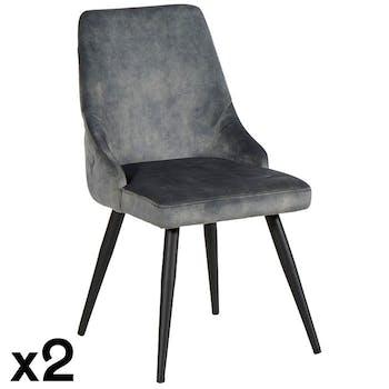 Chaise en velours gris (lot de 2) MALMOE