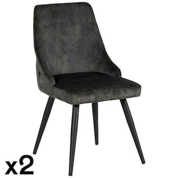 Chaise en velours vert kaki (lot de 2) MALMOE