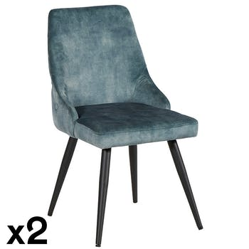 Chaise en velours bleu pétrole (lot de 2) MALMOE