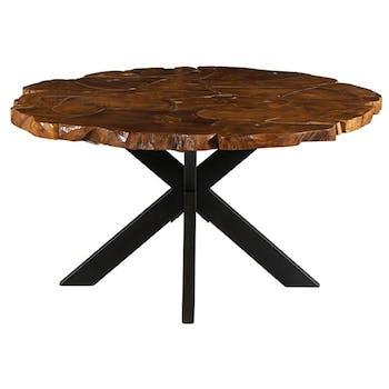 Table pied central ronde teck massif recyclé 150 cm BALTIMORE