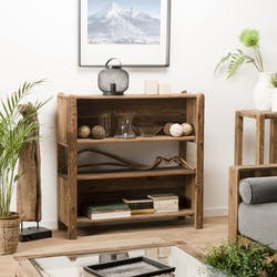 Etagère bibliothèque en bois de pin recyclé 3 niveaux DENVER