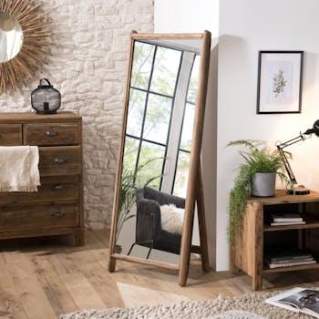 Miroir sur pied en bois de pin recyclé DENVER