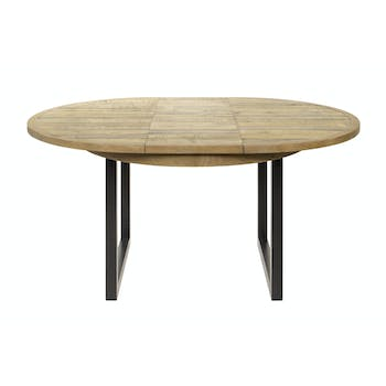 Table ronde extensible en bois recyclé D 120-160 cm BRISBANE