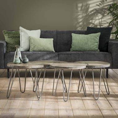 Table basse modulable ronde couleur grise (4 pièces) LUCKNOW