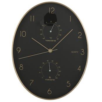 Horloge murale ovale noire 35 cm