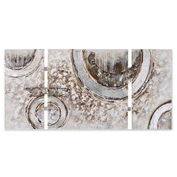 ABSTRAIT 70x146 Peinture triptyque acrylique rectangle Beige et Marron