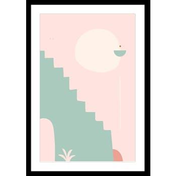 Affiche décorative encadrée graphique escalier fond rose