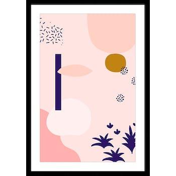 Affiche décorative encadrée graphique rose poudré