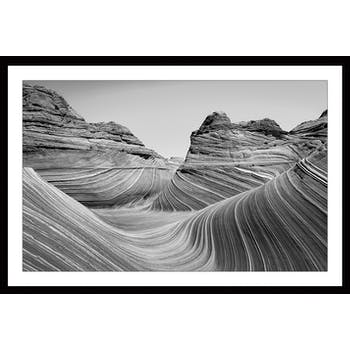 Affiche décorative encadrée roches Grand Canyon noir et blanc