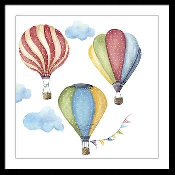Affiche enfant encadrée 3 montgolfières