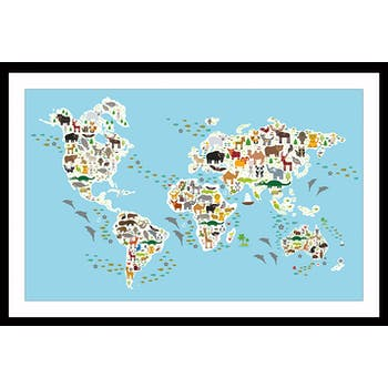 Affiche enfant encadrée atlas animaux du monde