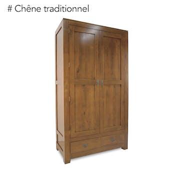 Armoire bois d'hévéa avec penderie HELENA
