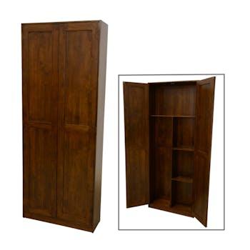 Armoire Hévéa 2 portes penderie + étagères 75x25x190cm TRADITION