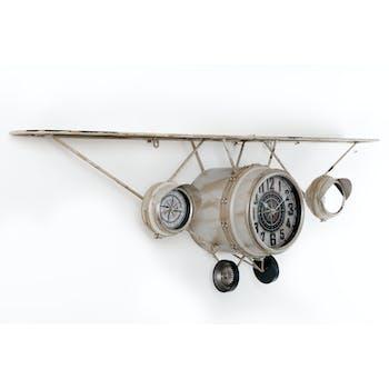 Avion Horloge triple murale Etagère en métal blanc cassé aspect vieilli avec miroir 125x23x40cm