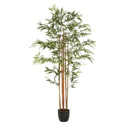 Bambou multi tiges en pot rond noir feuillage dense tissu polyester H180cm