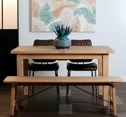 Banc de table bois recyclé clair 150 cm SALERNE