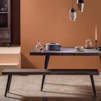 Banc de table bois recyclé piètement effet laiton vieilli 180 cm ADÉLAÏDE