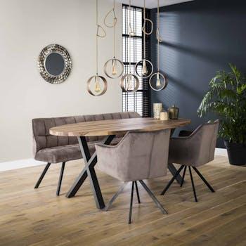 Banc salle à manger velours gris 180 cm MELBOURNE