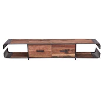 Meuble TV en bois recycle et metal de style industriel