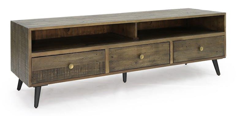 Meuble TV en bois recycle FSC fonce de style contemporain
