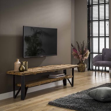 Meuble TV en bois recyle et metal de style industriel