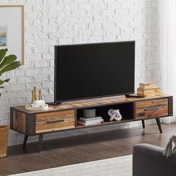 Banc tv bois recyclé 2 tiroirs SEATTLE