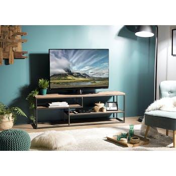 Meuble TV en bois recycle et metal destructure style contemporain
