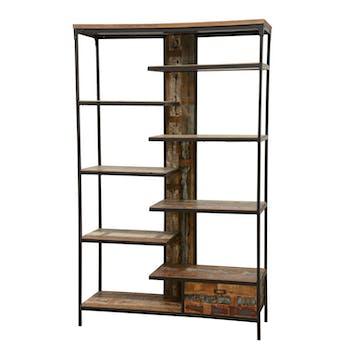 Bibliothèque 1 tiroir, 8 étages en quinconce en Hévéa recyclé coloré et métal 120x40x195cm LOFT COLORS