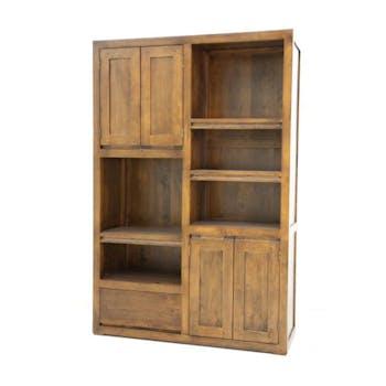 Bibliothèque 4 portes 1 tiroir hévéa 100x150cm OLGA