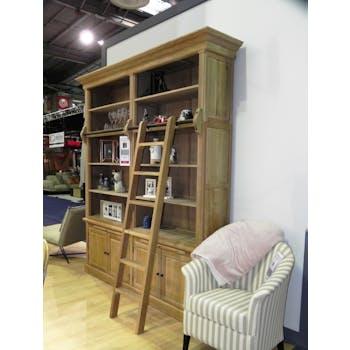 Bibliothèque avec échelle Classique chic Chêne 213x45x240cm MEDICIS