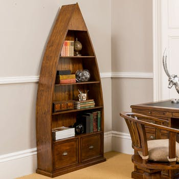 Bibliothèque bateau en bois recyclé OXFORD