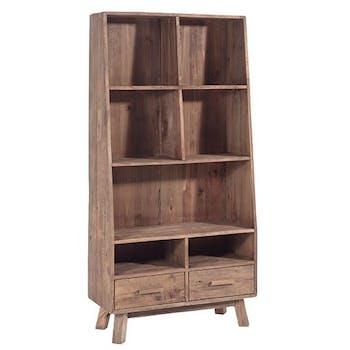 Etagere bibliotheque en bois recylce avec tiroirs de style contemporain