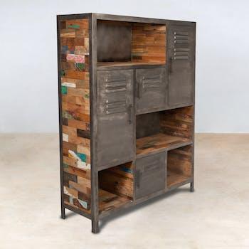 Bibliotheque en bois recycle avec portes metal de style industriel