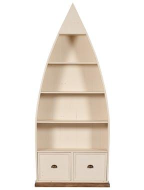 Bibliotheque etagere en bois blanc recycle FSC style bord de mer