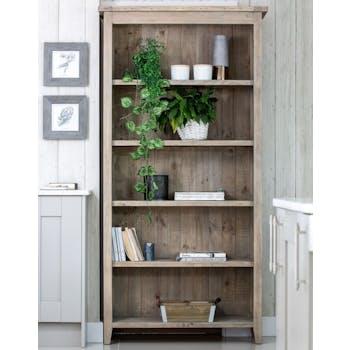 Bibliotheque etagere en bois recycle FSC de style campagne