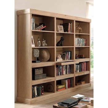 Bibliotheque buffet en bois massif de style contemporain