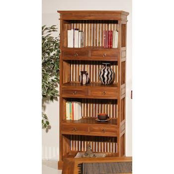 Bibliotheque etagere avec tiroirs en bois clair de style colonial