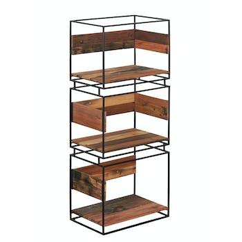 Bibliothèque colonne bois recyclé 3 niveaux SAMPAN