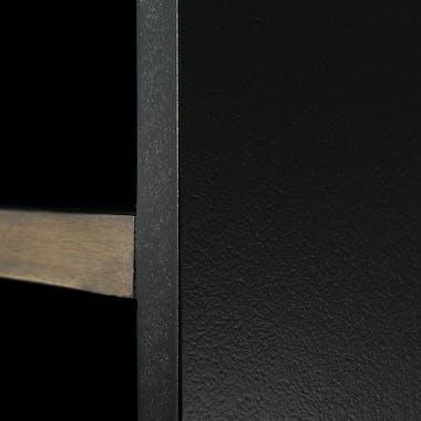 Bibliothèque en Acacia massif noir 8 niches, 2 portes coulissantes bandes teintes variées 90x35x196cm CADIX