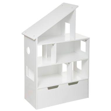 Bibliothèque enfant maison avec coffre